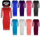NEW LADIES 3/4 SLEEVE LACE MIDI DRESS WOMENS FLORAL LACE BODYCON DRESS TOP 8-26