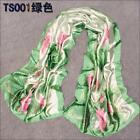 1PC Woman's New Fashion Lotus Leaf and Lotus Imitation Silk Scarf Shawl