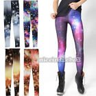 Womens Leggings Blue Galaxy Nebula Space Stars Sky Ladies Sexy Tights Pants N98B