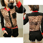 Korean Women Stand Collar Leopard Patchwork Long Sleeve Chiffon Shirt Blouse Top