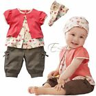 Girl Toddler Baby Short Top+Pants+Headband Costume Clothing 3PC Outfits SZ 0 1 2
