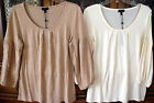 Talbots Liteweight Taupe Ivory Stretch Rayon Lyocel Top Tee Blouse Medium Petite