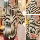 Women Hot Long Sleeve Chiffon No button Stripes Lapel Top Blouse T-Shirt Shirt J
