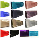 BLACK SILVER GOLD GREY RED NAVY BLUE IVORY SATIN EVENING PROM WEDDING CLUTCH NEW