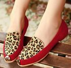 Womens Chic Genuine Leather Horsehair Leopard Slip On Flat Ballerinas Shoes#8011
