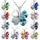 18KGP Swarovski Elements Crystal Clover Necklace Anniversary Birthday Gift