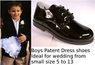 Page Boys Shoes Formal Weddings Dress Laced Black Patent High Shine Size 5 to 13