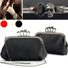 Skull Knuckle Ring Gem Retro PU Leather Handbag Chain Clutch Evening Bag Purse