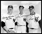 Mantle Dimaggio Maris Autographed Repro Photo 8X10  New York Yankees 1962
