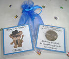 PERSONALISED BIRTHDAY LUCKY SIXPENCE KEEPSAKE GOOD LUCK GIFT MEN BOY 9 DESIGNS
