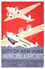 NEW YORK Municipal Airports...Vintage Art Deco Travel Poster A1,A2,A3,A4 Sizes