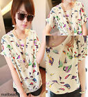 Womens Colorful Casual Birds Chiffon Batwing Loose Blouse T-Shirt Tops 3 Sizes