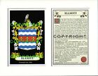ELLIOT to FALVEY Family Coat of Arms Crest + History - Mount or Framed