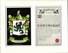 SPENCE to STUBBS Family Coat of Arms Crest + History - Mount or Framed
