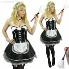 French Maid Fancy Dress Costume Women Outfit Plus Size 8 10 12 14 16 18 20 Sexy