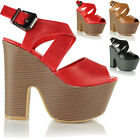Ladies Women Cut Out Platform Stack High Heel Wedge Peeptoe Buckle Sandals Shoes