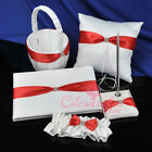 Red Bow Bridal Ring Pillow Flower Basket Wedding Guest Book and Pen Set Garter