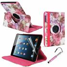 For Apple iPad mini 1 2 3 Smart Leather Case Flowers 360 rotating Stand Cover