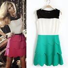 New Multicolor Splicing Womens Peter Pan Collar Tiered Flouncing Mini Dress 6679