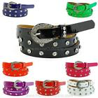 "3/4"" Skinny Rhinestone Studded Belt Unisex Women Rivet Faux Diamonds Narrow Slim"