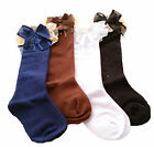 Kids Girls Knee Length High Socks Frilly Lace NAVY WHITE BLACK BROWN Age 3 - 10+