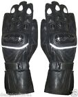 Black Motorbike Motorcycle Hard Knuckle Protection Real Cowhide Leather Gloves