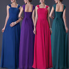 A-Line/Chiffon Full-Length Prom Bridesmaid Wedding Gowns Long Dress UK Size 6-22