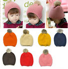 1pc Girls Boys Cute Crochet Fur Ball Kids Baby Bonnet Hat Cap Beanie Headwear
