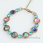 Antique Women Blue Pink Crystal Flower Charm Bronze Wrap Bracelet Wristband Gift
