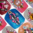 12PC Vintage fashion 3D shiny colorful Pre-Designed False Toe Nail Art Tips kits