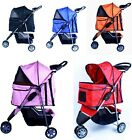 New Deluxe Folding 3 Wheel Pet Dog Cat Stroller Carrier w Cup Holder Tray-Option