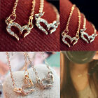 New Fashion Woman's Silver Gold Crystal Rhinestones Heart Pendant Chain Necklace