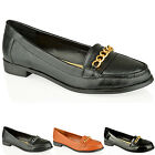 WOMENS LADIES OFFICE WORK FLAT VINTAGE CHAIN FAUX LEATHER LOAFERS SHOES SIZE
