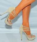 BEIGE SPARKLY STRAPPY DIAMANTES PEEP TOES PLATFORMS SANDALS PARTY HIGH HEELS 3-8
