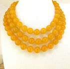 "Rare10mm Necklace Yellow Jade Round Gemstone Bead Knotted 18"" 24"" 36"" 48"" Lariat"