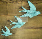 RETRO 3 FLYING SWALLOWS CERAMIC DUCK WALL ART HANGING DECORATION SHABBY VTG CHIC
