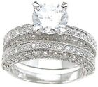 1.25 CARAT 925 STERLING SILVER ROUND WEDDING ENGAGEMENT RING SET SIZE 5 6 7 8 9
