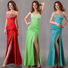 Slit Mermaid Beaded Sexy Long Bridesmaids Evening Party Prom Gown Evening Dress