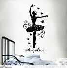 CUSTOM NAME Ballerina Ballet Dancer Sticker Wall Vinyl For Girls Removable Art D