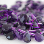 10  Gemstone Amethyst Faceted Teardrop Beads / Pendant 12 - 18mm Grade A+