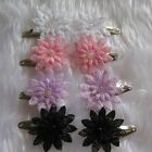 1pair baby toddler girls hair clips lace flower and  sequins  pink white black