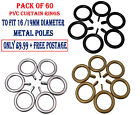 60 x Pvc Curtain Rings To Fit 16/19mm Metal Curtain Pole, Silver, Gold & Black