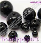 20 - 400 Smooth Round Glass Beads Deep Jet Black 4 mm - 12 mm Jewellery Making