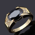 Size 8,9,10,11 Jewelry Man's Black Sapphire 10KT Yellow Gold Filled Ring Gift