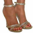 LADIES DIAMANTE GLITTER STRAPPY ANKLE SANDALS SHOES HEELS WEDDING BRIDAL SIZE