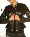 KM Real Leather full sleeve jacket ladies dress top cotton lined size 8 10 12 14