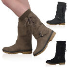 LADIES FAUX LEATHER WOMENS FUR LINED GRIP SOLE CALF LONG BOOTS SHOES SIZE 3-8