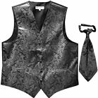 New Men's Paisley Tuxedo Vest Waistcoat  Ascot Cravat Wedding Prom Dark Gray