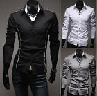 Mode Mens Business Slim Fit Stylish Long Sleeve Shirts Casual 3 Colors Z