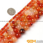 "Natural Carnelian Gemstone Round Beads For Jewelry Making 15"" 6mm 8mm 10mm 12mm"